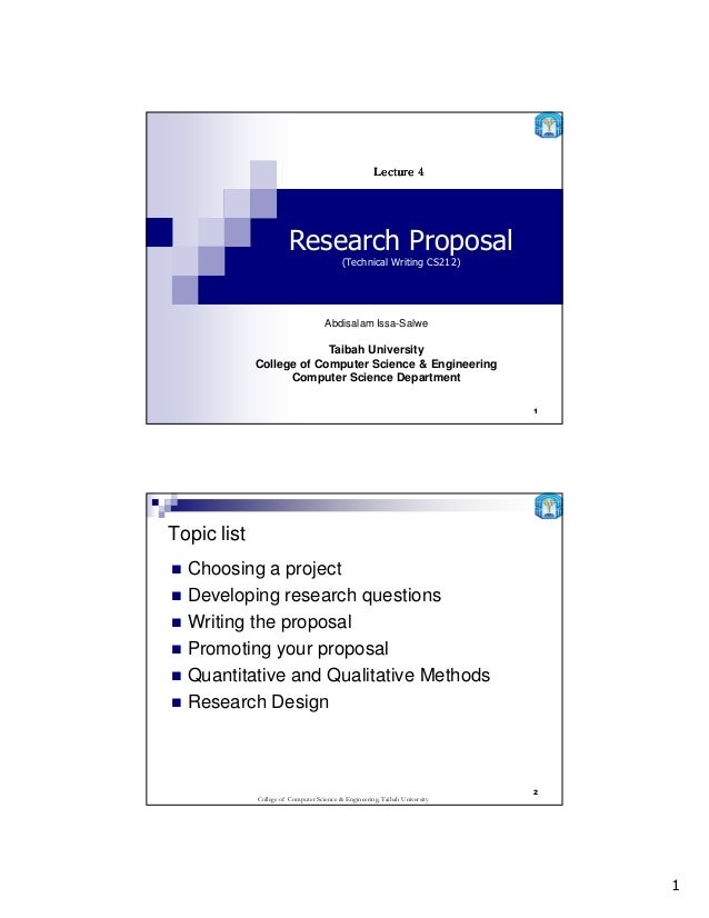 Lecture 4                        Research Proposal                                          (Technical Writing CS212)     ...