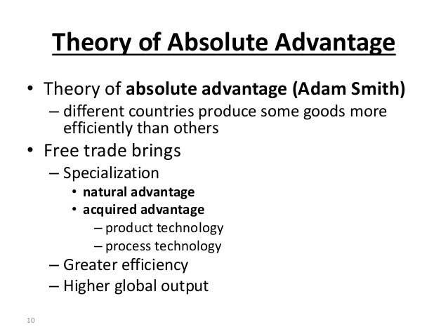 Acquired advantage trade theories