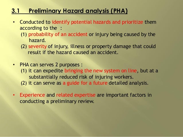 3.1 Preliminary Hazard analysis (PHA) • Conducted to identify potential hazards and prioritize them according to the : (1)...