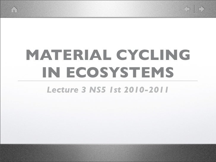 MATERIAL CYCLING  IN ECOSYSTEMS   Lecture 3 NS5 1st 2010-2011