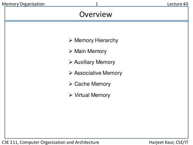 Memory Organization 1 Lecture 40 CSE 211, Computer Organization and Architecture Harjeet Kaur, CSE/IT Overview  Memory Hi...