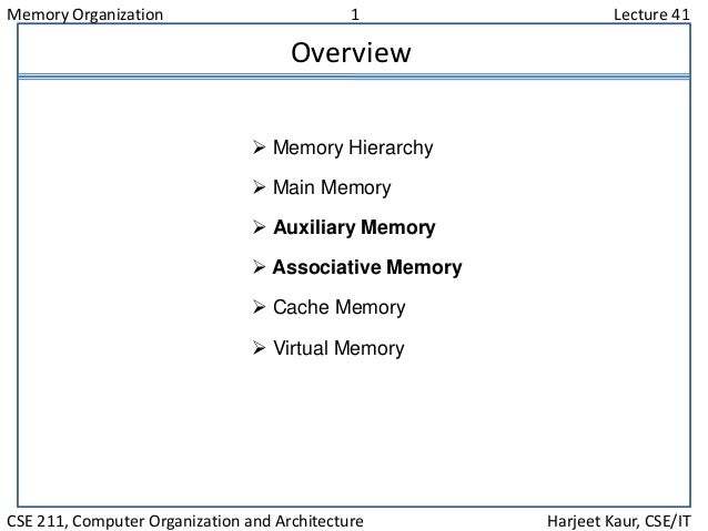 Memory Organization 1 Lecture 41 CSE 211, Computer Organization and Architecture Harjeet Kaur, CSE/IT Overview  Memory Hi...