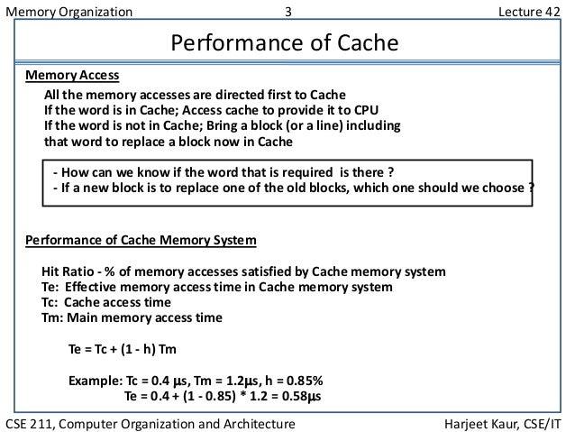 Memory Organization 3 Lecture 42 CSE 211, Computer Organization and Architecture Harjeet Kaur, CSE/IT Performance of Cache...
