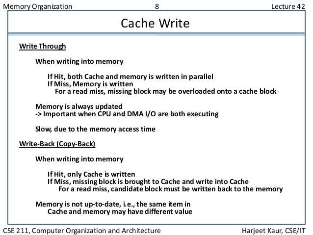 Memory Organization 8 Lecture 42 CSE 211, Computer Organization and Architecture Harjeet Kaur, CSE/IT Cache Write Write Th...