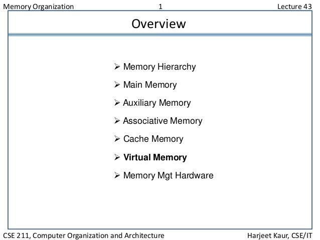 Memory Organization 1 Lecture 43 CSE 211, Computer Organization and Architecture Harjeet Kaur, CSE/IT Overview  Memory Hi...