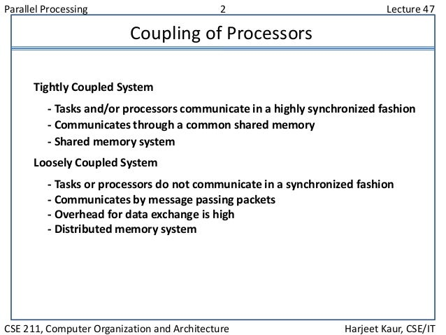 Parallel Processing 2 Lecture 47 CSE 211, Computer Organization and Architecture Harjeet Kaur, CSE/IT Coupling of Processo...