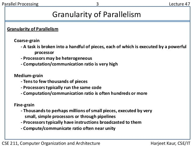 Parallel Processing 3 Lecture 47 CSE 211, Computer Organization and Architecture Harjeet Kaur, CSE/IT Granularity of Paral...