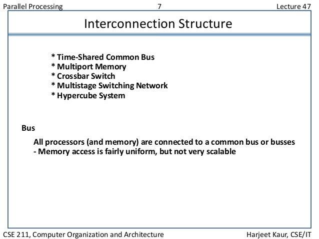 Parallel Processing 7 Lecture 47 CSE 211, Computer Organization and Architecture Harjeet Kaur, CSE/IT Interconnection Stru...