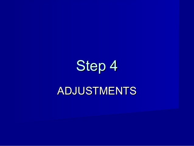 Step 4 ADJUSTMENTS