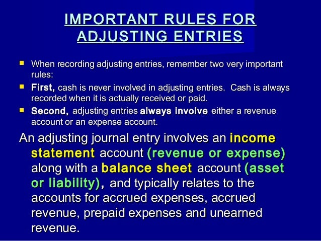 why are adjusting entries important This case introduces students in intermediate financial accounting courses to both of these important objectives i will be explaining why adjusting entries are necessary, also i will be describing the four types of adjusting entries.
