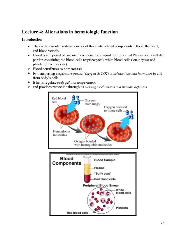 77  Lecture 4: Alterations in hematologic function Introduction  The cardiovascular system consists of three interrelat...
