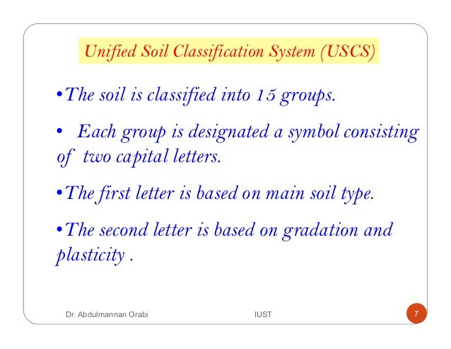 Lecture 4 classification of soil for Soil 5 letters