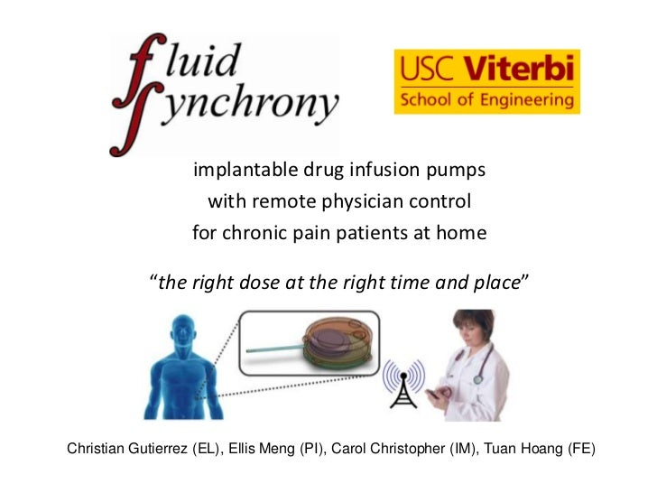 implantable drug infusion pumps                     with remote physician control                   for chronic pain patie...