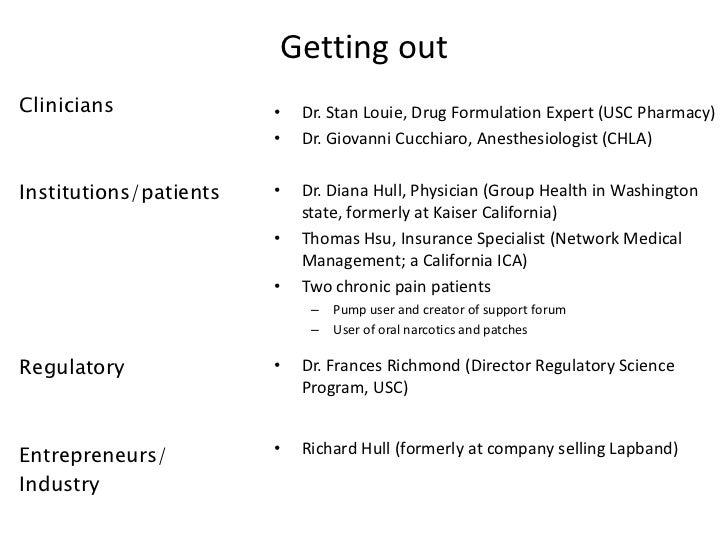 Getting outClinicians              •   Dr. Stan Louie, Drug Formulation Expert (USC Pharmacy)                        •   D...