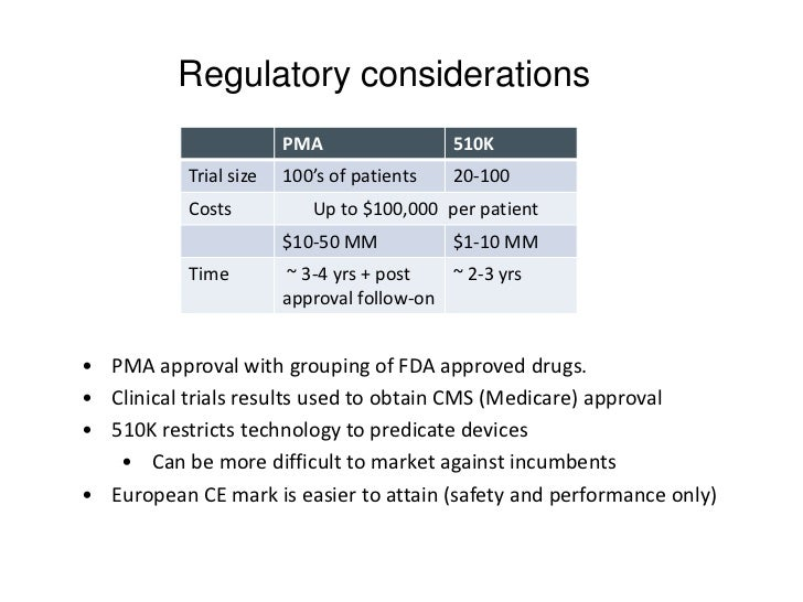 Regulatory considerations                        PMA                 510K           Trial size   100's of patients   20-10...