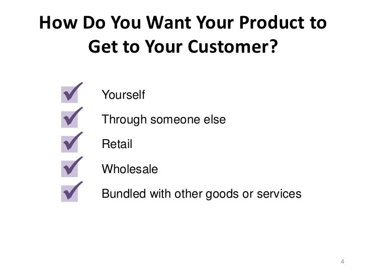 How Do You Want Your Product to    Get to Your Customer?     Yourself     Through someone else     Retail     Wholesal...