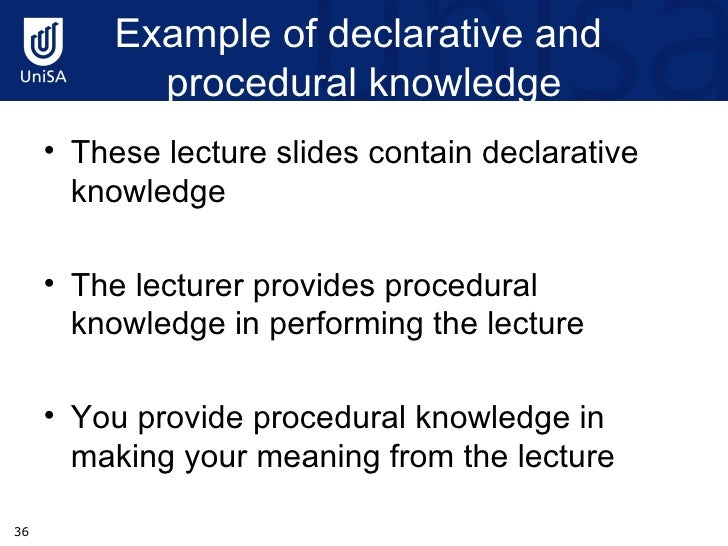 Declarative And Procedural Knowledge Essay