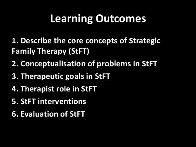strategic family therapy Development of family-based interventions strategies that specifically target  is  brief strategic family therapy (bsft), an intervention developed over the past.