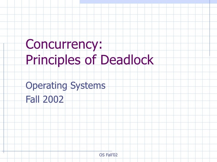 Concurrency:  Principles of Deadlock Operating Systems  Fall 2002