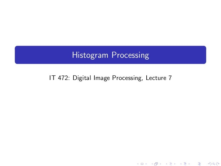 histogram processing in digital image processing pdf