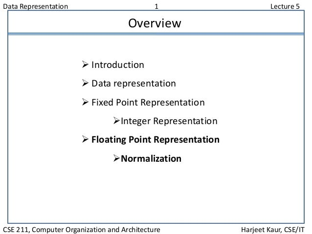 Data Representation 1 Lecture 5 CSE 211, Computer Organization and Architecture Harjeet Kaur, CSE/IT Overview  Introducti...