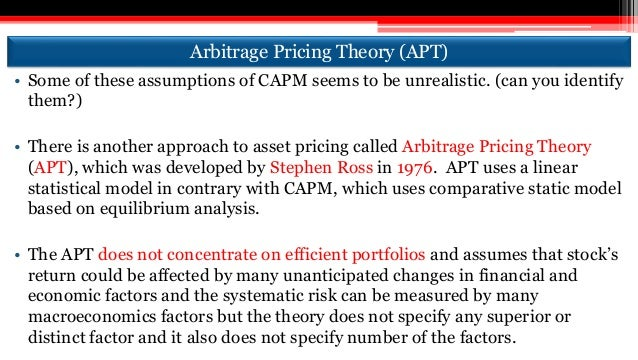 arbitrage pricing theory paper Downloadable this paper examines the stock price behaviour of an emerging stock market, the stock exchange of thailand (set), by applying a new equilibrium stock price theory formulated by ross (1976) the theory postulates stock market risks and returns are determined by fundamentals under a linear relationship.