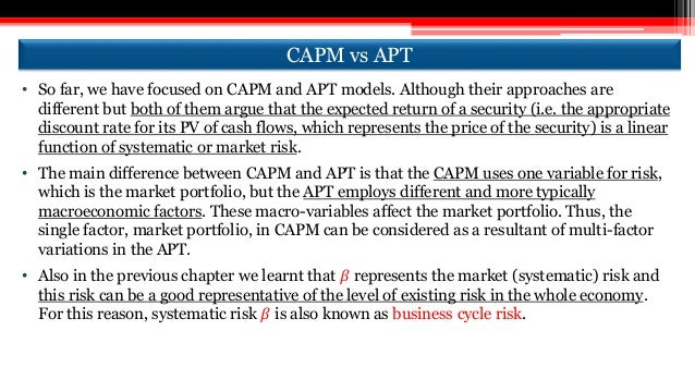 difference between capm and apt essay Introduction this essay is aim to compare and contrast the capm and apm   as  : from the apt, the arbitrage portfolio increase the expected return of portfolio.