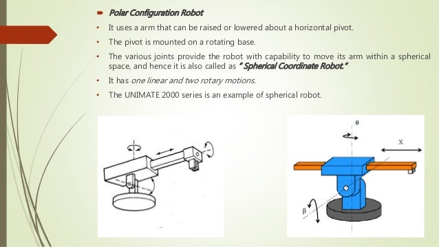  Polar Configuration Robot • It uses a arm that can be raised or lowered about a horizontal pivot. • The pivot is mounted...