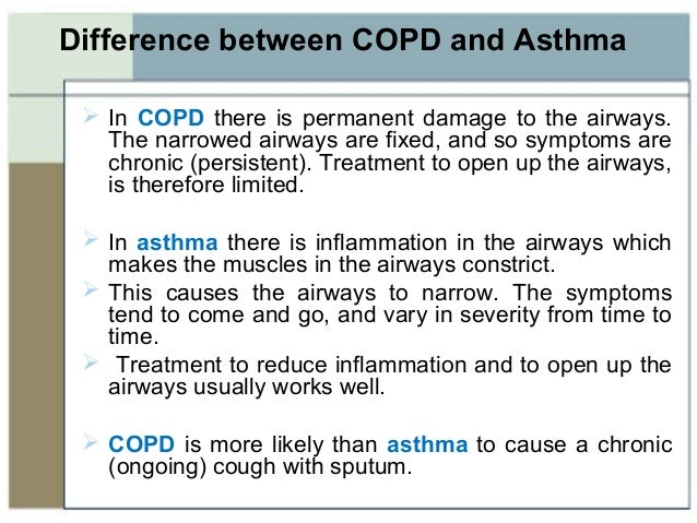 Asthma vs. COPD Differences in symptoms causes and treatment options