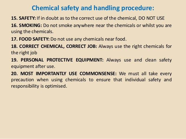 What To Do With Chemicals Near Food At Work