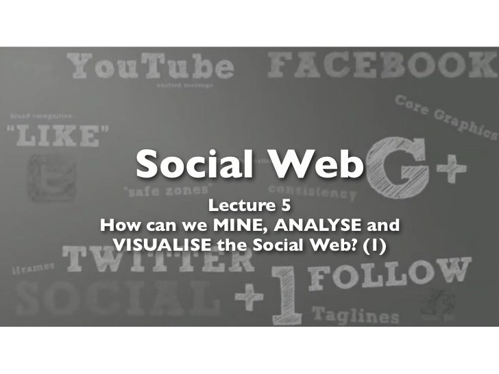 Social Web          Lecture 5How can we MINE, ANALYSE and VISUALISE the Social Web? (1)
