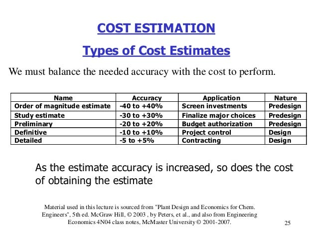 cost estimation in engineering The ultimate goal of cost estimation is to determine the amount of fixed and variable costs to create a cost formula to be used to predict future costs the cost formula, or cost equation, is the output of the cost estimation process.
