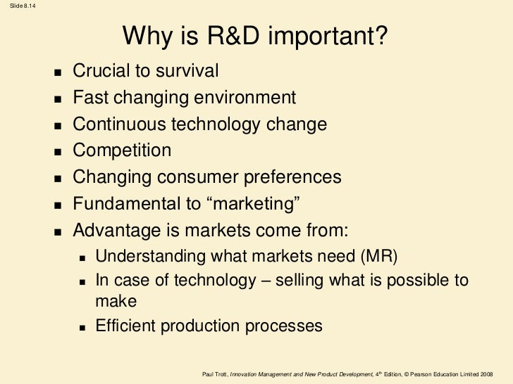 what is research and development Research and development (r&d) aims to create new technology or information that can improve the effectiveness of products or make the production of products more efficient how it works (example): let's say company xyz is a pharmaceutical company that produces pain relieving medication.