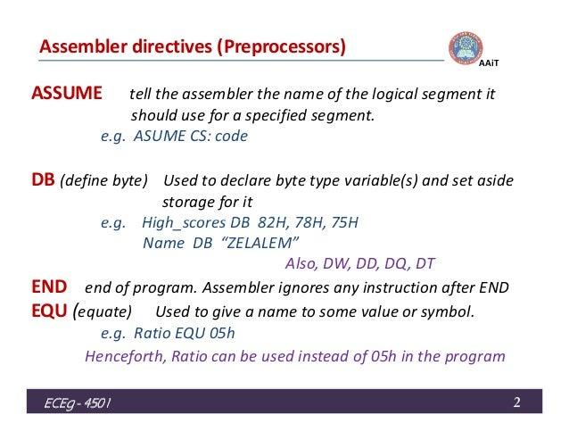 assembly language lecture6 Cmpsci 201 architecture and assembly language  lecture #5 - february 6,  2004 - conditional execution and binary lecture #6 - february 9, 2004 - integer .