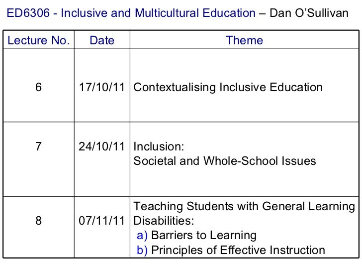 ED6306 - Inclusive and Multicultural Education  – Dan O'Sullivan Teaching Students with General Learning Disabilities:   a...