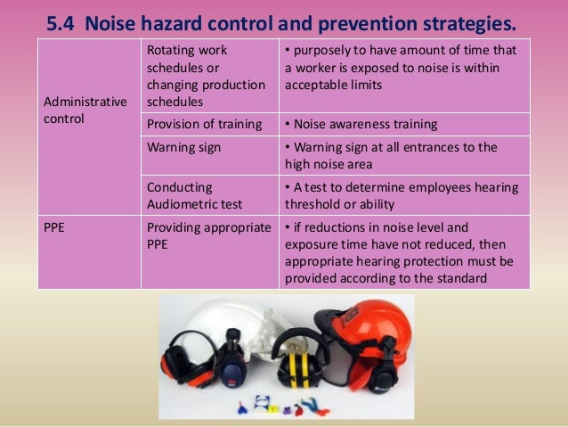 5.4 Noise hazard control and prevention strategies. Administrative control Rotating work schedules or changing production ...