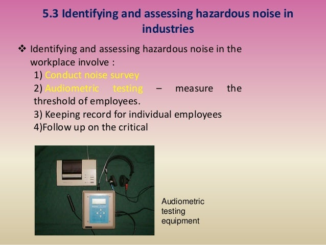 5.3 Identifying and assessing hazardous noise in industries  Identifying and assessing hazardous noise in the workplace i...