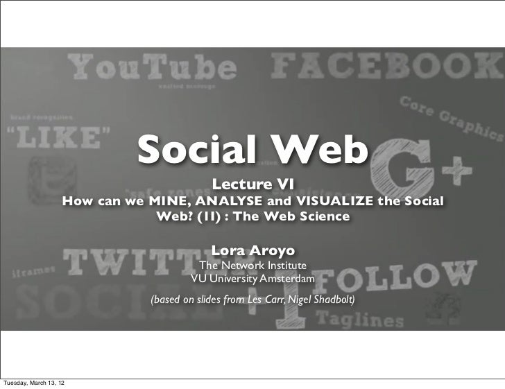 Social Web                                            Lecture VI                    How can we MINE, ANALYSE and VISUALIZE...