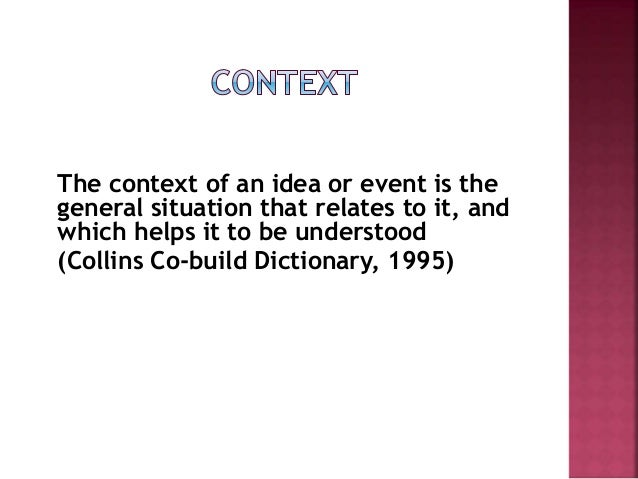 Discourse Analysis Features of Context