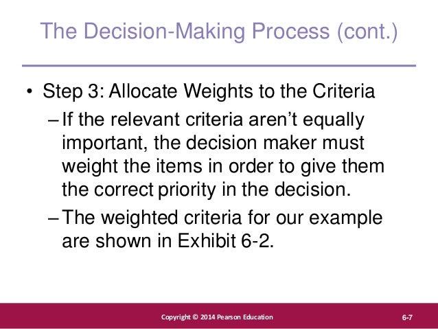 Copyright © 2012 Pearson Education, Inc. Publishing as Prentice Hall Copyright © 2014 Pearson Education 6-7 The Decision-M...