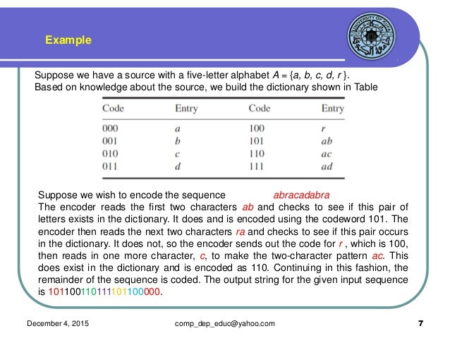 Lecture 6 dictionary coding