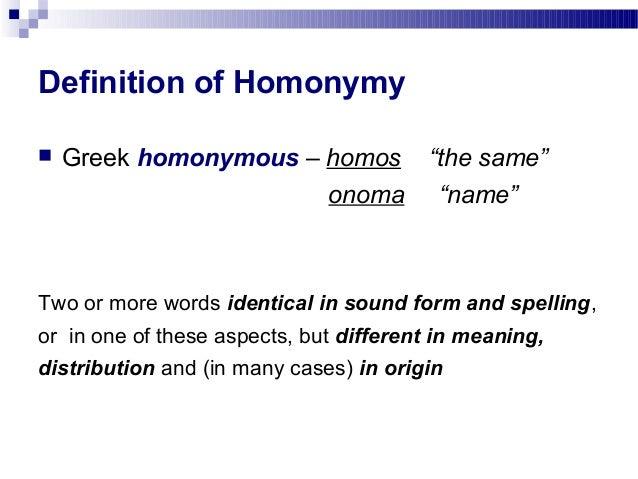 homonymy definition biology