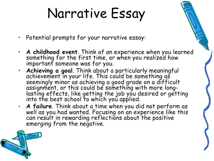 an narrative essay A narrative essay is a format in which the author tells, or narrates, a story they are non-fictional and deal with the author's personal development unlike other forms of writing, using the first person is acceptable in narrative essays narrative essays are different from short stories, which are.
