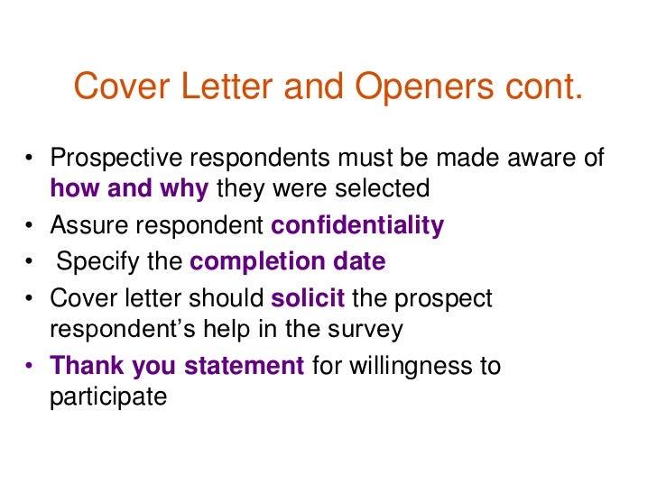 questionnaire cover letters