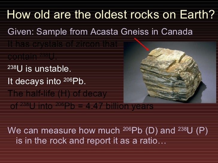 Radiometric dating of the oldest rocks on earth
