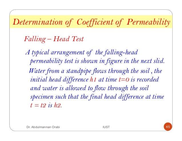 theory falling head permeability test