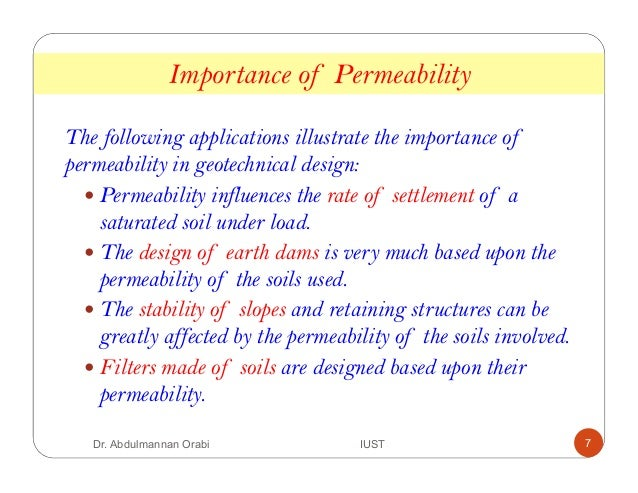 Lecture 6 soil permeability for Soil uses and its importance