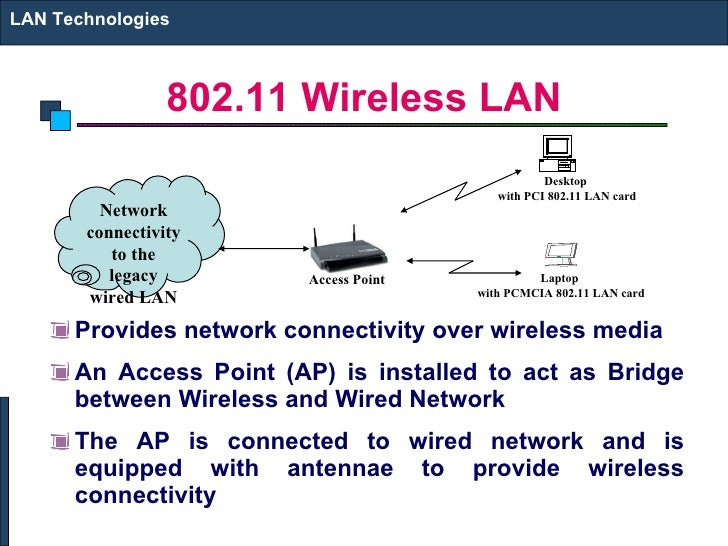 802.11 Wireless LAN <ul><li>Provides network connectivity over wireless media </li></ul><ul><li>An Access Point (AP) is in...