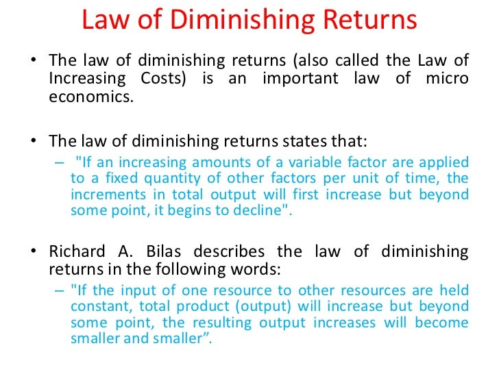law of 'diminishing law of marginal The law of diminishing marginal utility is a law of economics stating that as a personincreases consumption of a product while keeping consumption of other productsconstant, there is a decline in the marginal utility that person derives from consuming each additional unit of that product.