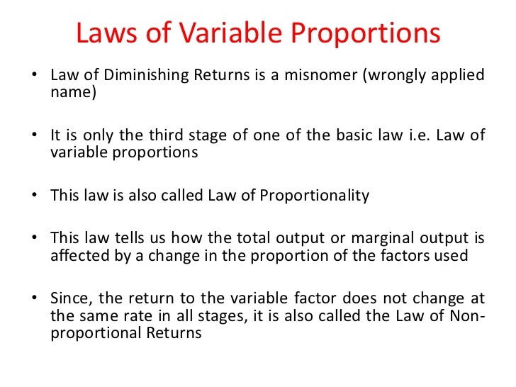 describe the law of variable proportions